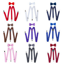 Unisex Kids Adjustable Suspenders Boys Braces Bow Tie Set Tuxedo Wedding