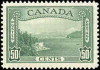1938 Mint Canada F-VF Scott #244 50c Pictorial Issue Stamp Hinged