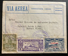 1939 Asuncion Paraguay First Flight cover FFC to Buenos Aires Argentina B