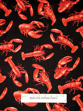 Lobster Ocean Seafood Crustacean Cotton Fabric Timeless Treasures C2027 YARD