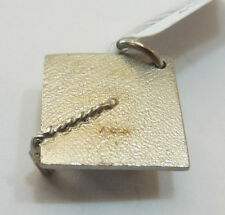 Sterling Silver 925 Charm Pendant - Mortar Board Graduation Hat - NEW