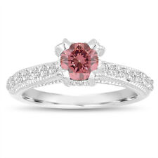 Enhanced Pink Diamond Engagement Ring, 0.75 Carat 14K White Gold Certified