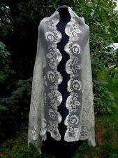 Rare Antique French Silk Floral Aerophane Scarf Shawl Stole 19th