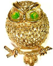 Eyes Owl Brooch Bright Crystal Sarahoo Gold Tone with Green