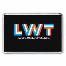 RETRO: LWT -LONDON WEEKEND TELEVISION LOGO JUMBO FRIDGE / LOCKER MAGNET