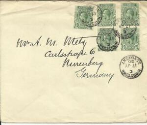 St Vincent SG#108(x5) Kingstown 17/JY/20 to Germany