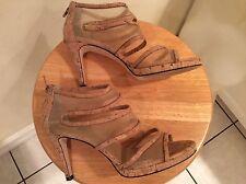 Vaneli Women's Natural Cork Mesh Platform heel zip up back Sandals PRISTINE