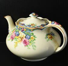 Lovely Vintage Flower Embossed Crown Ducal Pasadena #2137 Teapot