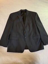 Calvin Klein Black Stripe Suit 44s - 100% Wool 2-Button - 35x27.5 Flat Front
