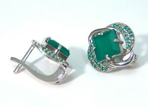 Sterling Silver Green Agate Omega Back Earrings Anti Tarnish 5.3 carats