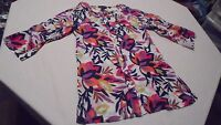 Dana Buchman Womens Small Colorful Floral Lightweight Tab Sleeve Blouse Top