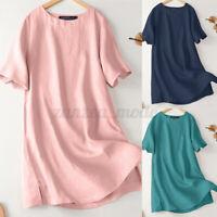 ZANZEA Womens Short Sleeve Basic Solid Round Neck Cotton Tee T-Shirt Tops Blouse