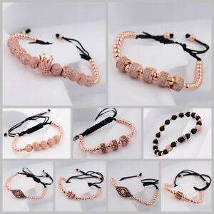 24kt Luxury Men Micro Pave Rose Gold CZ Braiding Macrame Bracelet&Bangle Jewelry