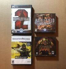 Battlefield 2 + Vietnam, Doom 3, & Counter-Strike: Source Game Lot (PC-CD ROM)