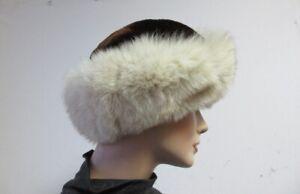 "Women's Sz 22"" Brown Sheared Beaver Fur Hat with Fox Fur Trim  MINT"