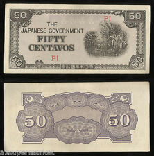 "RARE WWII 1942 ""JAPANESE OCCUPIED PHILIPPINES"" BANK NOTE ""50 CENTAVOS"" P# 105"