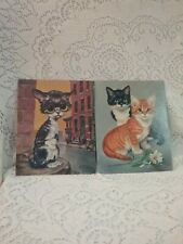 """1960's GIG Girard Litho Pity Kitty And Cats Picture Vintage 8"""" X 10' Big Eyes"""