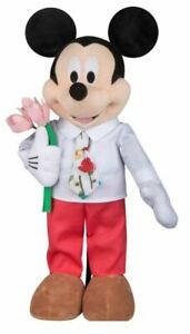 Disney 24 in Tall Mickey Mouse Easter Spring Plush  Floral Tie & Tulips Greeter