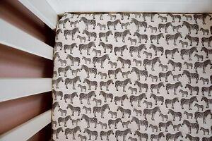 Handmade Cot Zebra Safari Fitted Sheet. 100% Cotton. (120x60cm unisex Nursery)