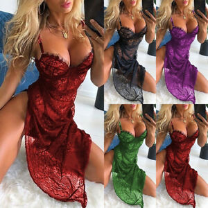 Womens Sexy Lace Cami Nightdress Nightgown Ladies Lingerie Set Strappy Sleepwear