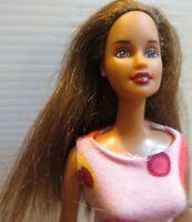 Barbie doll 1990 Long Brown hair Pink Earings Ring High Heels & Barbie Dress