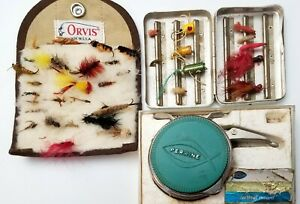 Very Cool Lot Of Fly Fishing Gear Perrine Automatic Reel & Orvis Pouch of lures