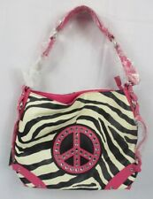 PEACE SIGN on Pink Women's Animal Print Purse - Brand New with Tags Attached