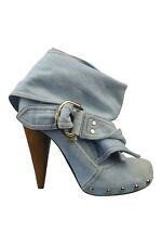 MULBERRY Blue Denim D-Ring Wrap Ankle Boots (40)