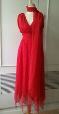 VTG Mike Benet red ruched valentino asymmetrical opera maxi goddess dress scarf