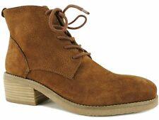 Lucky Brand Women's Tamela Lace-Up Booties Toffee Embossed Nubuck Size 7 M