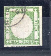 ANTICHI STATI 1861 NAPOLI E PROVINCIA 1/2 TORNESE VERDE SCURO D/296
