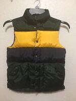 Gap Kids Size 8 Puffy Vest Yellow Navy Green front zip Pockets