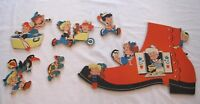 Vintage Dolly Toy Collection Old Woman Who Lives In Shoe cardboard wall cutouts