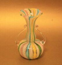 Genuine Murano Venetian latticino handled & ribbon vase with original sticker on