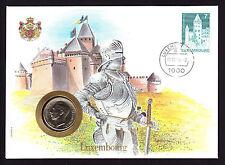 ONU 1984 NUMISBRIEF Lussemburgo MEDAGLIA copertura CAVALIERE Armour CACHET holenfels TIMBRO
