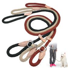 Nylon Dog Slip Rope Leash Lead Adjustable Loop Training Choke Collar Black Beige