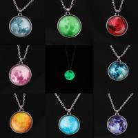 Galaxy Planet Fairy Moon Luminous Pendant Necklaces Glow In The Dark Jewelry