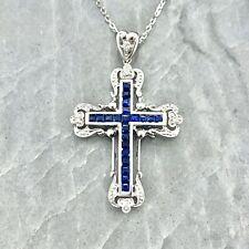 "Sapphire and Diamond Cross, 14K White Gold, 16"" Chain"