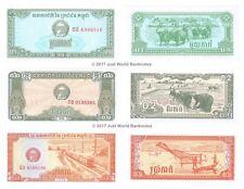 Cambogia 0.1 + 0.2 + 0.5 riels 1979 Set di 3 BANCONOTE 3 PZ UNC