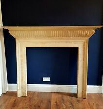 19th C. Painted pine chimney piece, with moulded mantleshelf above fluted frieze