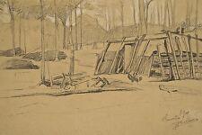 Jules PONCEAU 1881-1961 Dessin 1905 Cabane de Charbonnier Bois de Clamart (92)