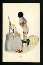 Artist Signed Vintage postcard , Atwell, girl child dress up makeup A309