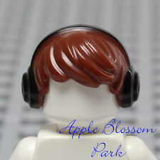NEW Lego Minifig Brown TOUSLED HAIR - Boy Short Side Swept Head Gear Ear Phones