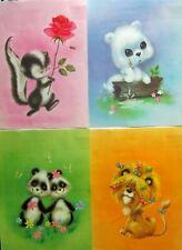 Vintage Set of 4 Nursery Art Animal Prints Skunk Panda Lion Dog Whimsical 10x13