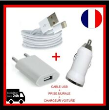 Chargeur Cable USB IPhone 7 8 X  + adaptateur mural  +USB Chargeur allume-cigare
