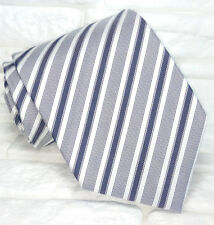 Necktie striped gray & black  tie SILK Made in Italy business, weddings classic