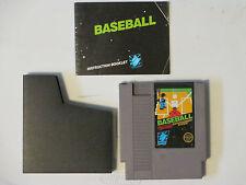 vintage Nintendo Nes Baseball Game Cartridge w/Instruction Manual, Dust Jacket