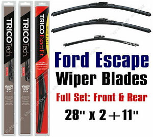 2013-2019 Ford Escape Wiper Blades 3-Pack Front + Rear Wipers - 19280x2/11G