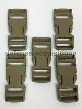 SET OF 5 Side Release Side Squeeze Dual Adjust Buckle 1 INCH - TAN