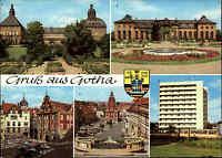 GOTHA Thüringen DDR Mehrbild-AK 1980 ua. Schloss Friedenstein, Hochhaus Lenin-Pl